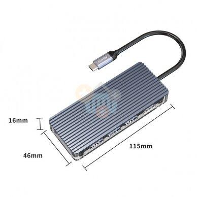 USB-C šakotuvas ORICO 7 in 1: HDMI, USB 3.0, TF&SD, PD +++ TOP Mobilumas 3