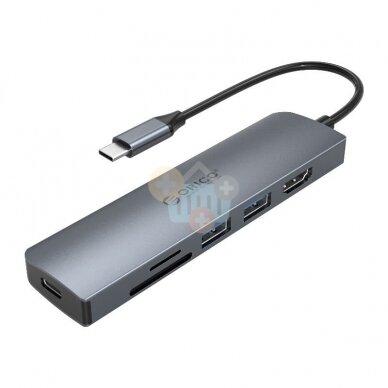 USB šakotuvas ORICO 6 in 1: HDMI, USB 3.0, PD 3.0, TF/ SD +++ TOP Mobilumas 3