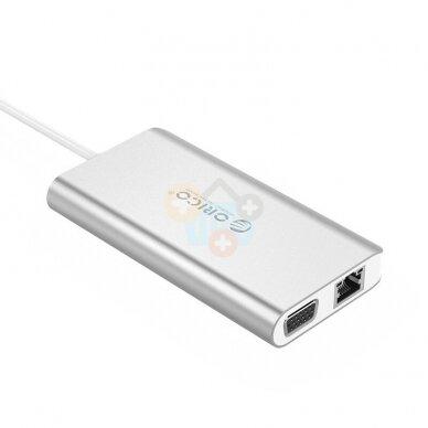 USB šakotuvas ORICO 8 in 1: Type-C; HDMI, USB 3.0, PD 3.0, TF/ SD; RJ45 +++ TOP Mobilumas 2